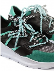 Leather Crown Border Line Sneakers Black Emerald Green womens shoes buy online