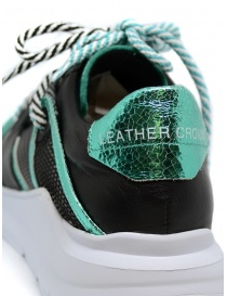 Leather Crown Border Line Sneakers Black Emerald Green womens shoes price
