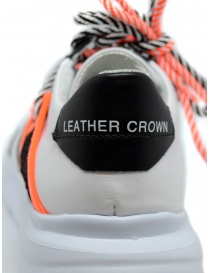 Leather Crown Border Line Sneakers orange black mens shoes price