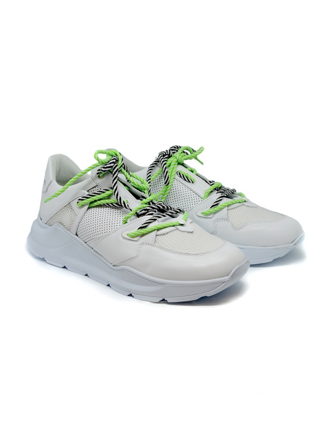 Leather Crown Border Line Sneakers neon green and white MBRDL AERO UOMO 305 mens shoes online shopping