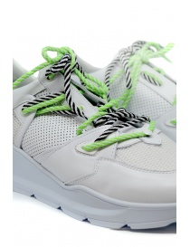 Leather Crown Border Line Sneakers neon green and white mens shoes buy online