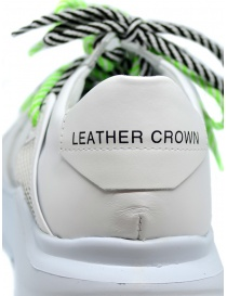 Leather Crown Border Line Sneakers neon green and white mens shoes price