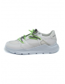Leather Crown Border Line Sneakers neon green and white