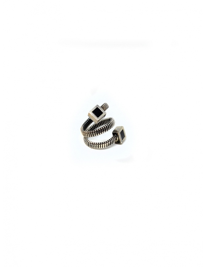 Guidi spiral ring with squares in silver G-AN07 SILVER 925 BLKT jewels online shopping