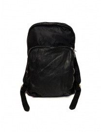 Guidi SP05 black expandable backpack in horse leather and nylon price