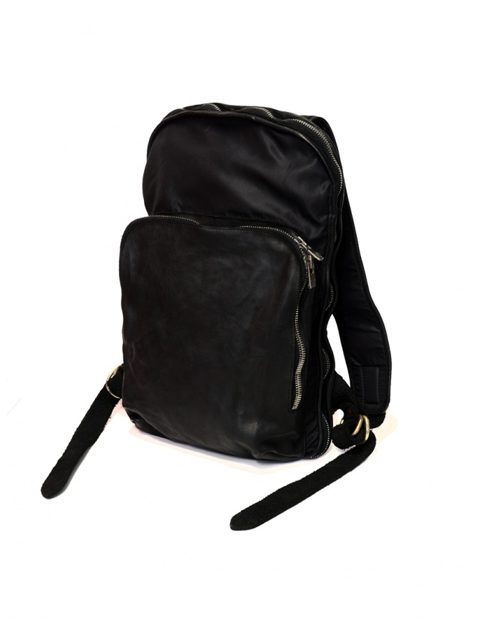 Guidi SP05 black expandable backpack in horse leather and nylon SP05 SOFT HORSE FG+NYLON BLKT bags online shopping