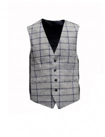 Mens vests online: Selected Homme vest with grey and blue squares