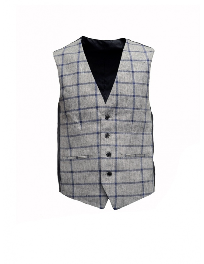 Selected Homme vest with grey and blue squares 16067387 GREY/BLUE mens vests online shopping