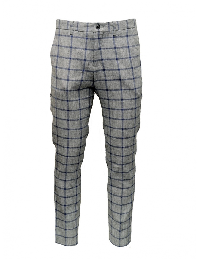 Pantaloni Selected Homme a quadri grigi e blu 16067498 GREY/BLUE pantaloni uomo online shopping