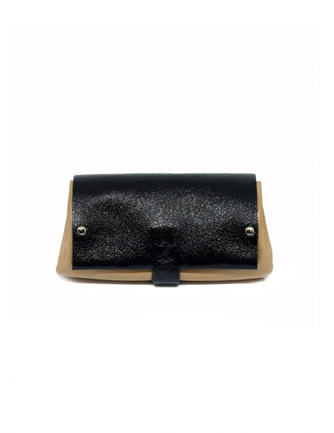 Delle Cose black and beige calf leather wallet 82 BABYCALF VARN.BLK wallets online shopping