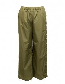 Pantaloni donna online: Pantaloni Zucca con bottoni color cachi