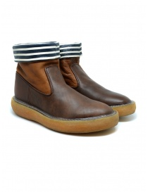 Kapital brown leather ankle boots with blue and white stripes EK 12 BROWN