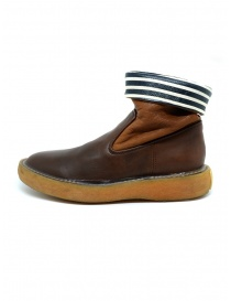 Kapital brown leather ankle boots with blue and white stripes