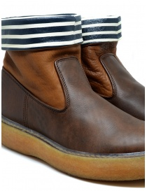 Kapital brown leather ankle boots with blue and white stripes mens shoes buy online