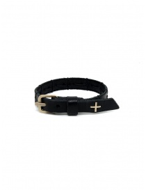 M.A+ cross stitched black leather bracelet price