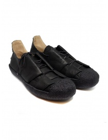M.A+ sneaker in black leather with rough sole online