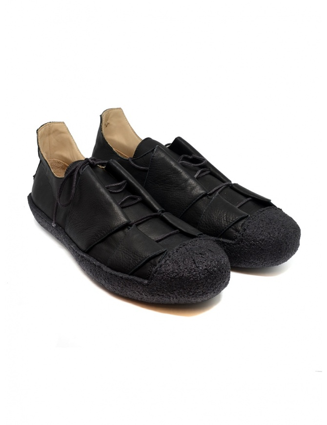 M.A+ sneaker in black leather with rough sole OS01.10 SY1.0 BLACK/BLACK
