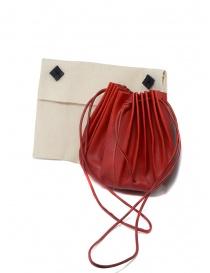 Borsetta M.A+ a conchiglia in pelle rossa con lacci B703 borse prezzo