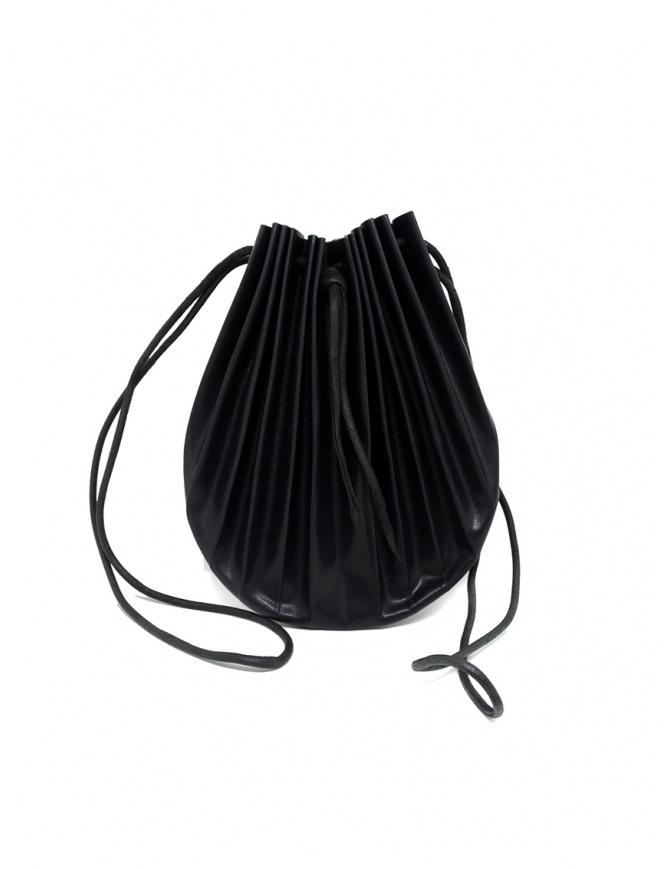 Borsetta B703 M.A+ a conchiglia in pelle nera con lacci B703VIP 0.7 BLACK borse online shopping