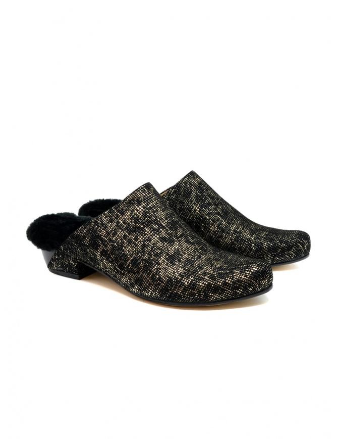 Scarpe Tracey Neuls con pelliccia nere e oro NORA GOLD GRID calzature donna online shopping
