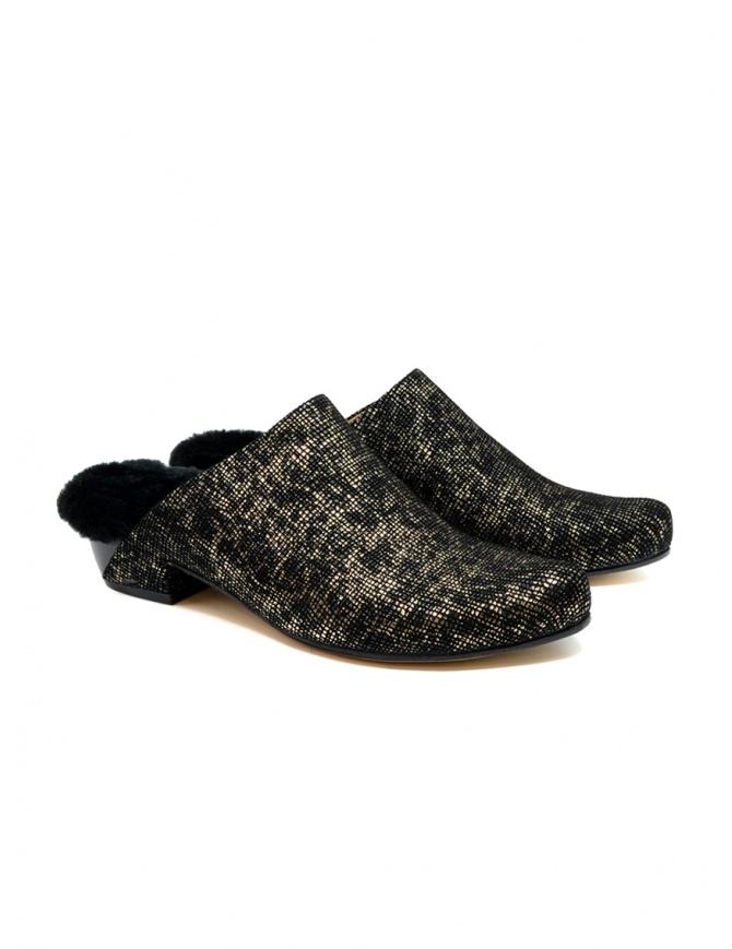 Tracey Neuls black and gold furry shoes NORA GOLD GRID womens shoes online shopping