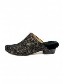 Tracey Neuls black and gold furry shoes