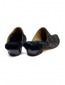 Tracey Neuls black and gold furry shoes price