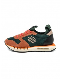 BePositive Cyber orange and green leather sneakers