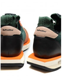 BePositive Cyber orange and green leather sneakers mens shoes price