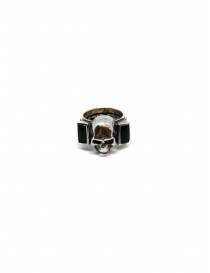 ElfCraft ring skull with two rectangular onyx stones