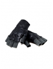 Gloves online: Carol Christian Poell black fingerless gloves in leather and cotton