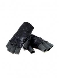 Carol Christian Poell guanti senza dita neri in pelle e cotone online