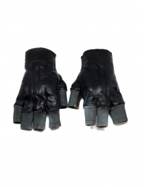 Carol Christian Poell black fingerless gloves in leather and cotton price