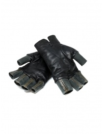 Carol Christian Poell black fingerless gloves in leather and cotton gloves buy online