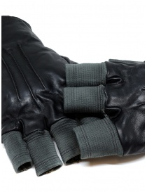 Carol Christian Poell black fingerless gloves in leather and cotton buy online