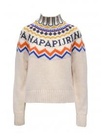 Womens knitwear online: Napapijri high collar jumper Dune white