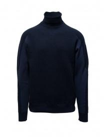 Mens knitwear online: Napapijri Ze-Knit Ze-K237 blue high collar sweatshirt