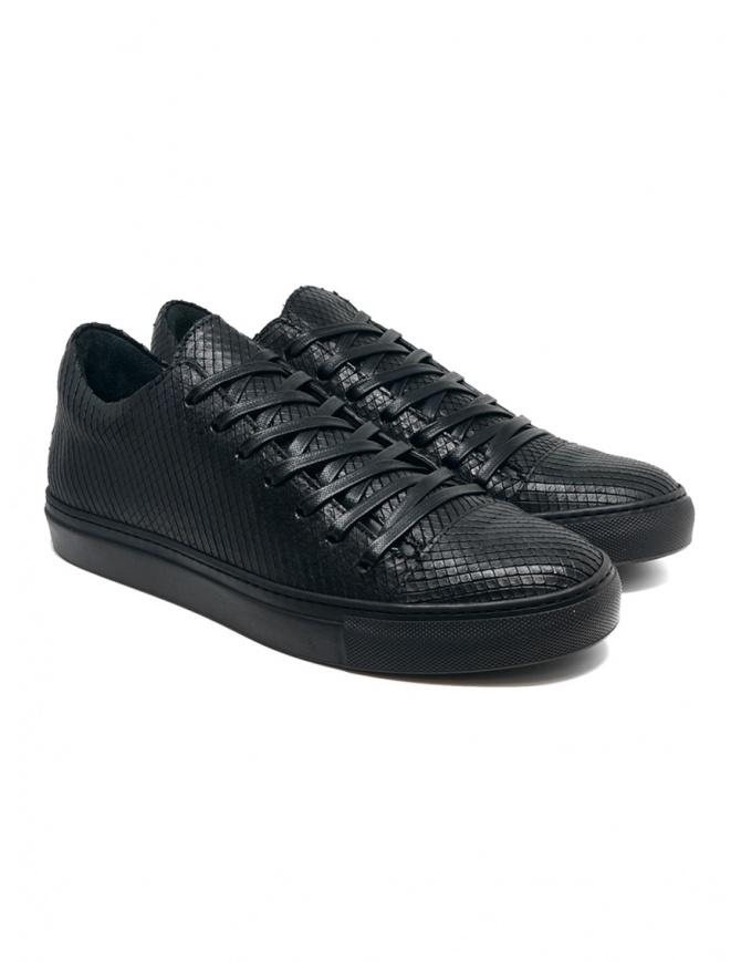 John Varvatos Reed lizard scales effect black sneakers F2754V2 Y1433 001 BLACK mens shoes online shopping