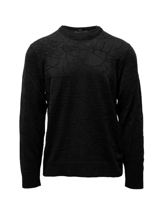 John Varvatos black sweater cracked effect Y1961V3B BPE7B 001 BLACK mens knitwear online shopping