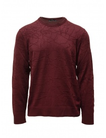 John Varvatos burgundy sweater cracked effect online