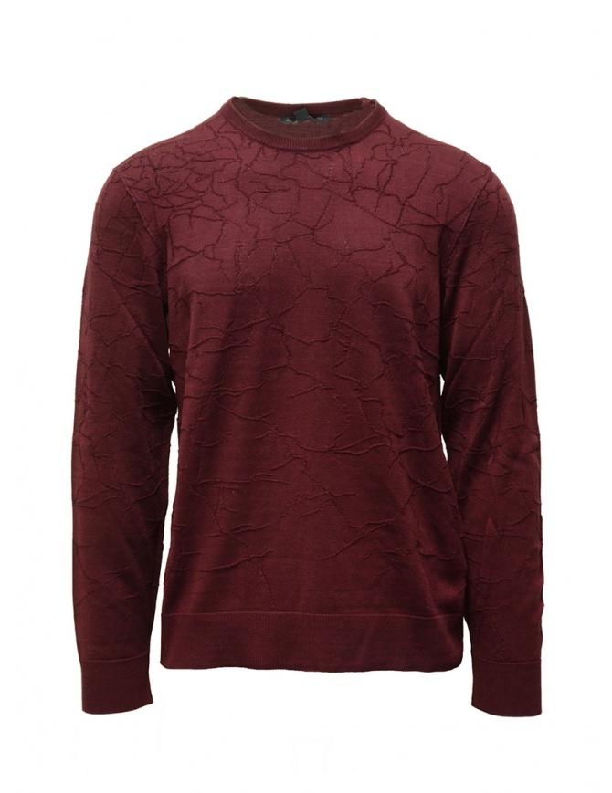 John Varvatos burgundy sweater cracked effect Y1961V3B BPE7B 602 PORT mens knitwear online shopping