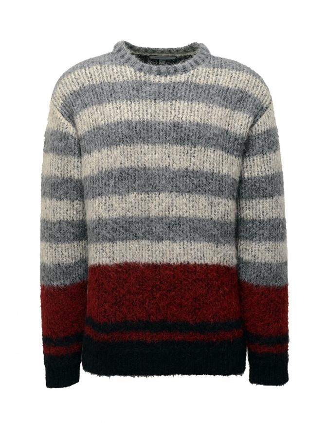 John Varvatos maglione da uomo jacquard a righe Y2676V3 BRU21 057 GREY HTHR maglieria uomo online shopping