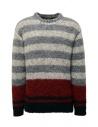 John Varvatos maglione da uomo jacquard a righe acquista online Y2676V3 BRU21 057 GREY HTHR