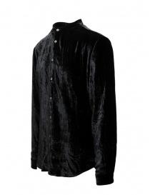 John Varvatos camicia alla coreana in ciniglia nera