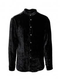 John Varvatos camicia alla coreana in velluto nero W592V3 67PA 001 BLACK