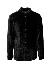 Mens shirts online: John Varvatos Mandarin collar shirt black chenille