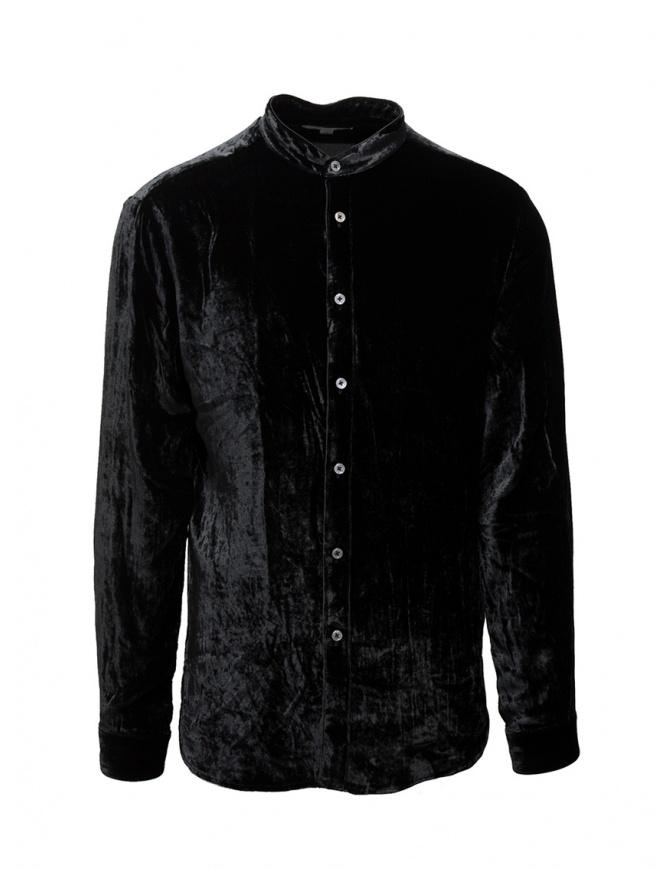 John Varvatos camicia alla coreana in velluto nero W592V3 67PA 001 BLACK camicie uomo online shopping