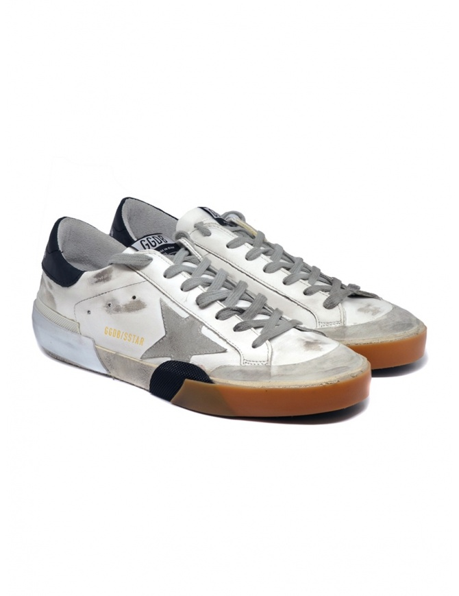 Golden Goose Superstar sneakers in white and black with grey star G35MS590.P50 WHT-MULTIFOX-PEN mens shoes online shopping
