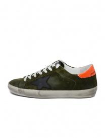 Sneaker Golden Goose Superstar scamosciata verde con stella nera prezzo