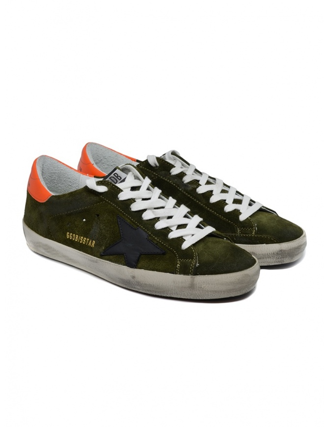 Golden Goose Superstar sneakers in green suede with black star G35MS590.Q69 GREY SUEDE-BLK ST